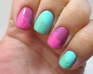Color Club - Sweet Pea and Blue-ming with Sally Hansen Cotton Candies and Sour Apple