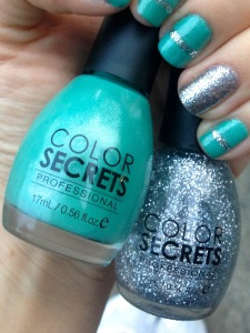 Mint green manicure with silver glitter stripe and accent nail manicure1