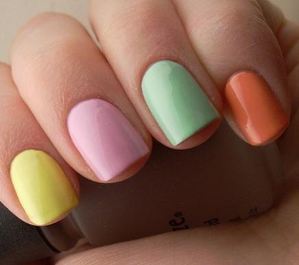 Разноцветные ногти. сочетание цветов
