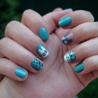 Totoro nail art или дизайн ногтей в стиле мультфильма Хаяо Миядзаки!