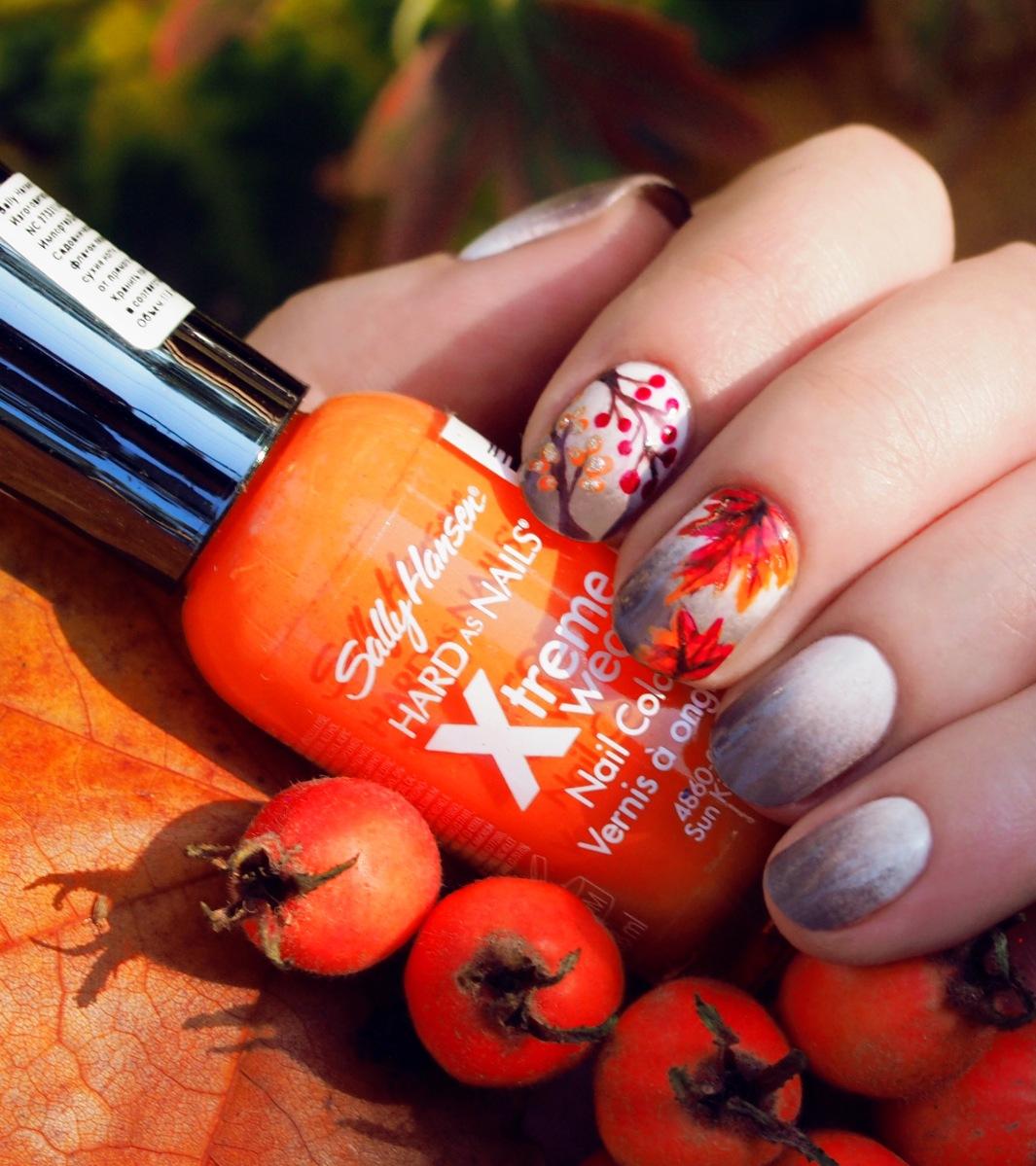 Рисунки на ногтях на тему осень фото