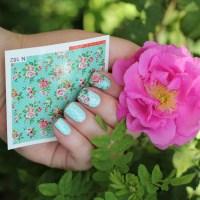 """Мятный лак для ногтей NailLOOK Endless Summer №31391 """"Meadow Breeze"""" плюс дизайн со слайдерами и стемпингом в стиле «Прованс»."""